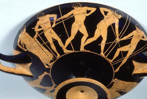 Javelin throwers - red figure kylix, c 5th century BC