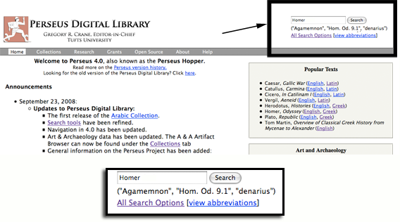 close up of search box on P4 home page